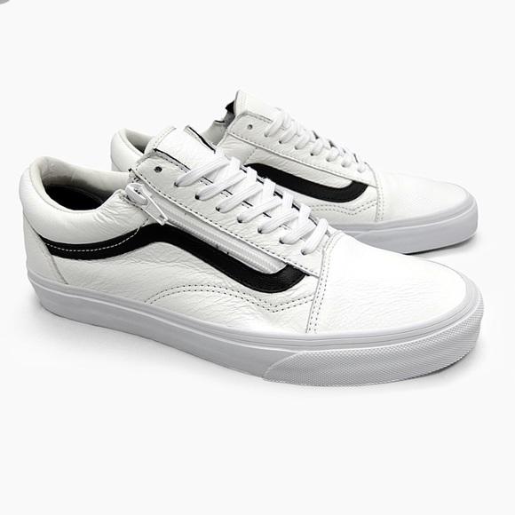 vans old skool zip premium leather white